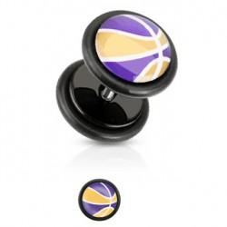 Faux piercing plug violet et jaune Nay FAU202