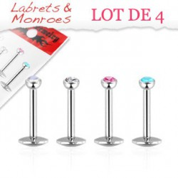 Lot 4 piercings labret 8mm cristal de 2mm Qra LAB138