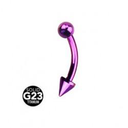 Piercing arcade 8mm pointe et boule violet Tyz ARC095