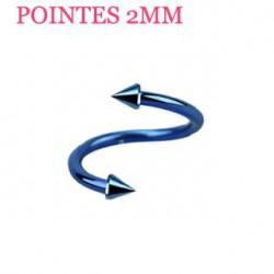 Piercing spirale 8mm bleu et pointes 2mm Sij SPI020