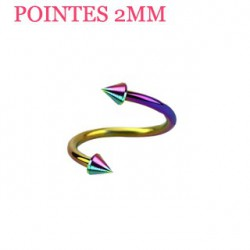 Piercing spirale 8mm arc en ciel et pointes 2mm SPI020