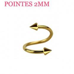 Piercing spirale 10mm doré et pointes 2mm Suxaz SPI021