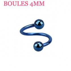 Piercing spirale 6mm bleu et boules 4mm Sky SPI022