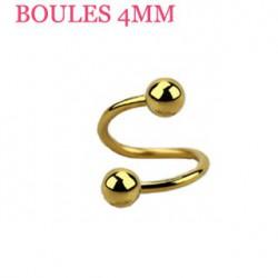 Piercing spirale 6mm doré et boules 4mm Skot SPI022