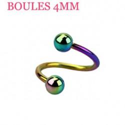 Piercing spirale 6mm arc en ciel et boules 4mm SPI022