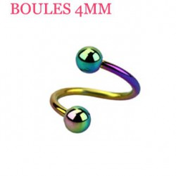 Piercing spirale 10mm arc en ciel et boules 4mm SPI024