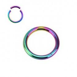 Piercing anneau 12 x 1,2mm à segment arc en ciel ANN104
