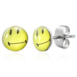 Puces clous d'oreilles smiley jaune Donf PUC061