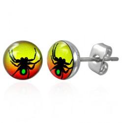 Puces clous d'oreilles avec une araignée Dow PUC065
