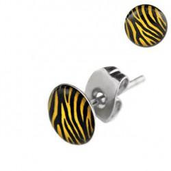 Puces d'oreilles motif zébré jaune Dye PUC072