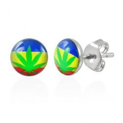 Puces d'oreilles logo feuille de cannabis Base PUC073
