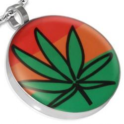 Pendentif feuille de cannabis verte Voz