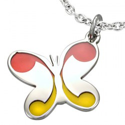 Pendentif papillon ailes jaune orange Xas PEN073