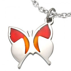 Pendentif papillon ailes orange Xuta