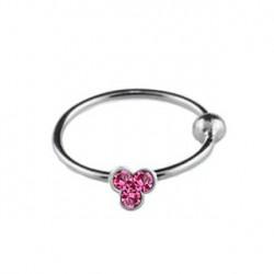 Piercing anneau 10mm strass rose Afon NEZ082