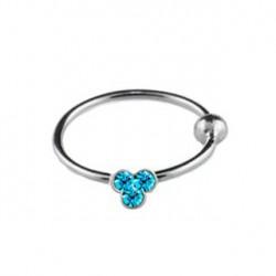 Piercing anneau 10mm strass aqua Abaz NEZ082