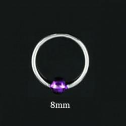 Piercing anneau 8mm boule violette Azy NEZ083