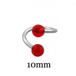 Piercing spirale 10mm et boules rouge 4mm Fay SPI027