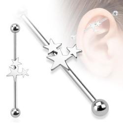 Piercing industriel 38mm avec des étoiles en acier Hao IND089