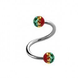 Piercing spirale 10mm boules rasta Aka SPI029