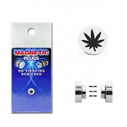 Faux piercing plug aimanté feuille de cannabis FAU212