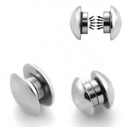 Faux piercing plug 10mm aimanté acier FAU218