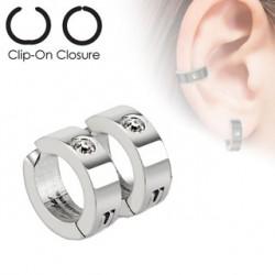 Faux anneau d'oreille acier et zirconium blanc Jaz FAU221