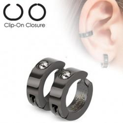 Faux anneau d'oreille noir et zirconium blanc Jyu FAU222