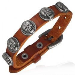 Bracelet en cuir marron et têtes de mort Qaz BRA036