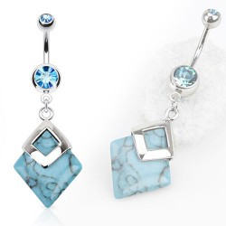 Piercing nombril pierre turquoise bleu Auv NOM480