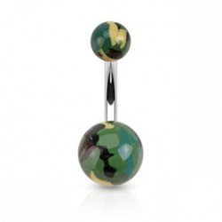 Piercing nombril camouflage vert marron NOM021