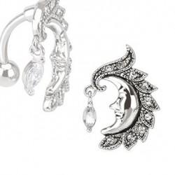 Piercing nombril inversé lune blanc Wuk NOM024