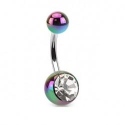 Piercing nombril boule arc en ciel et crystal Piercing nombril3,49€