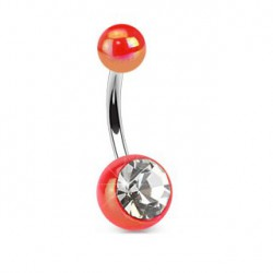 Piercing nombril boule rouge et cristal NOM443
