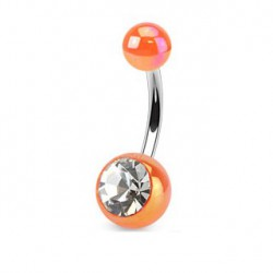 Piercing nombril boule orange et cristal NOM443