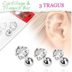 Piercings de 3 tragus coeurs Kat TRA034