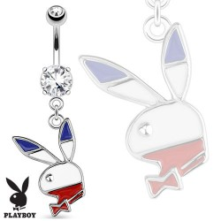 Piercing nombril playboy bleu blanc rouge NOM531
