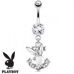 Piercing nombril playboy avec ancre blanche NOM535