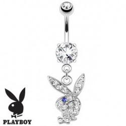 Piercing nombril playboy blanc oeil bleu NOM536