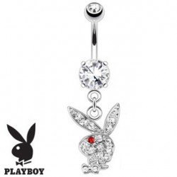 Piercing nombril playboy blanc oeil rouge NOM536