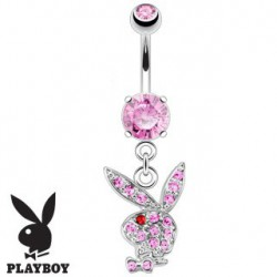 Piercing nombril playboy rose oeil rouge NOM536