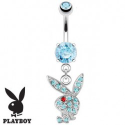 Piercing nombril playboy bleu oeil rouge NOM536