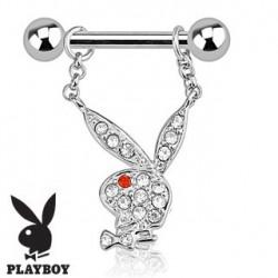 Piercing téton playboy cristal blanc TET072