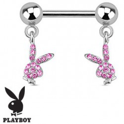 Piercing téton lapin playboy rose Wak TET077