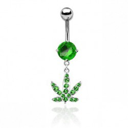 Piercing nombril feuille verte de cannabis NOM194