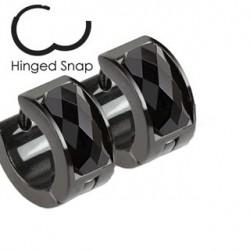 Boucle anneau cristal noir à facettes Cuw ANN111