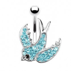 Piercing nombril hirondelle bleu Vaz NOM538