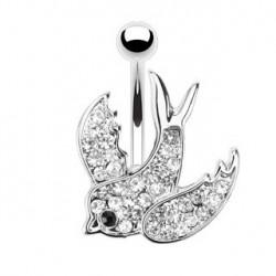 Piercing nombril hirondelle cristal blanc NOM538