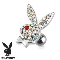 Piercing tragus playboy cristal aurore boréale TRA066