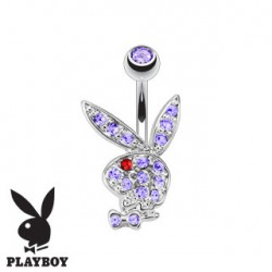 Piercing nombril banane playboy violet et oeil rouge NOM537